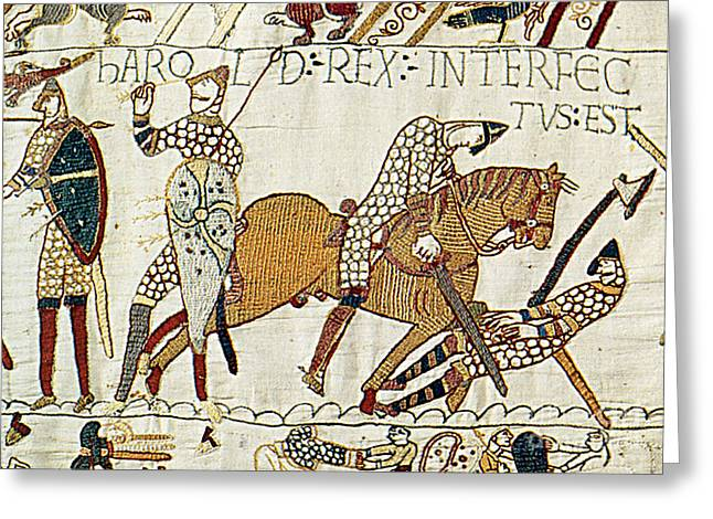 Tapestries Textiles Greeting Cards - Death Of Harold, Bayeux Tapestry Greeting Card by Photo Researchers