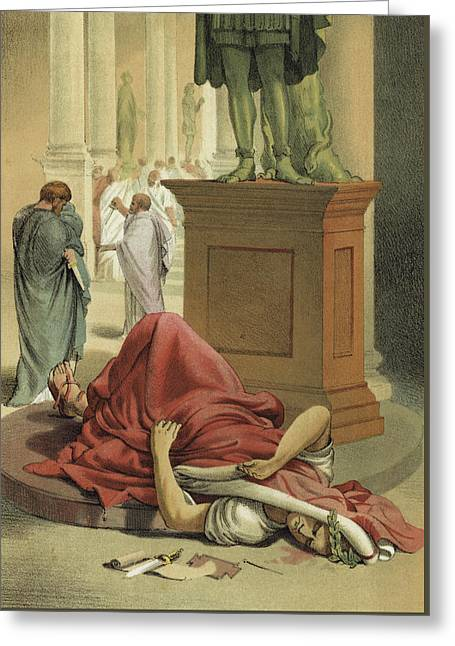 Death Of Julius Caesar, Rome, 44 Bc  Greeting Card by Spanish School