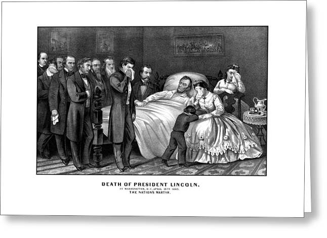 Proclamation Mixed Media Greeting Cards - Death Of President Lincoln Greeting Card by War Is Hell Store