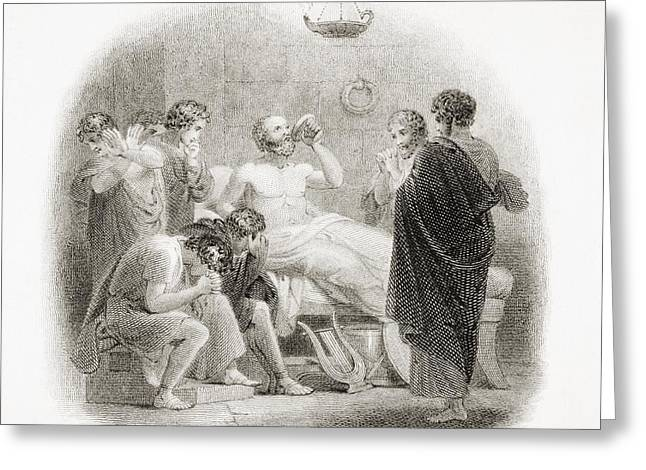 Lute Drawings Greeting Cards - Death Of Socrates, 469 - 399 B.c Greeting Card by Vintage Design Pics