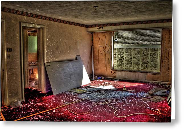 Hdr Landscape Greeting Cards - Death of the White Haven Motel 8765 Greeting Card by Timothy Bischoff