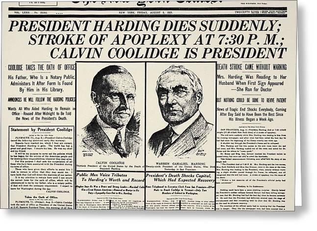 Republican Greeting Cards - Death Of Warren Harding Greeting Card by Granger