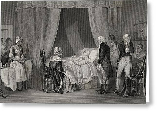 Black American Drawings Greeting Cards - Death Of Washington December 1799 Greeting Card by Ken Welsh