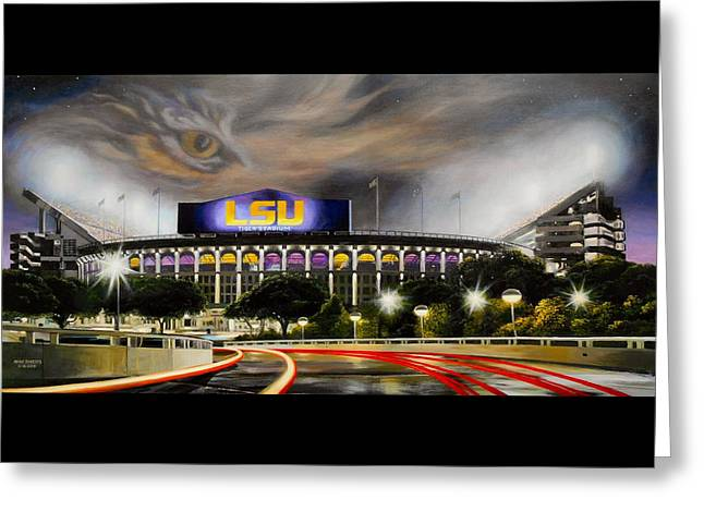Lsu Football Greeting Cards - Death Valley Game Time Greeting Card by Mike Roberts