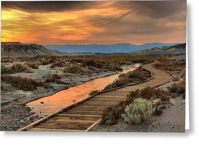 Death Valley Salt Creek Sunset Panorama Greeting Card by Adam Jewell