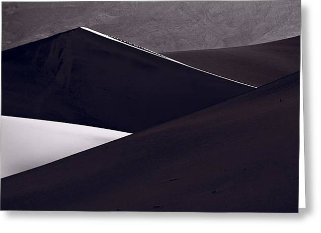 Shadow Shapes Greeting Cards - Death Valley Sand Dune Panorama BW Greeting Card by Steve Gadomski