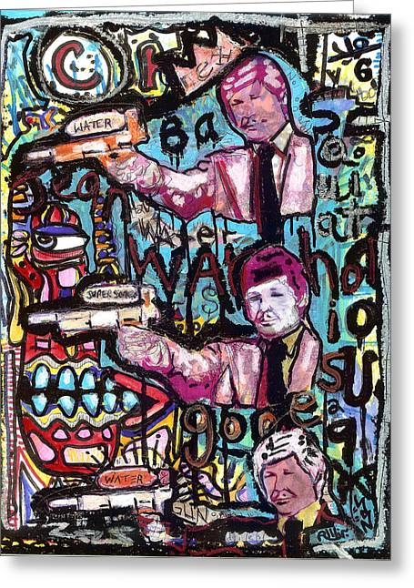 Anti Mixed Media Greeting Cards - Death Wash Greeting Card by Robert Wolverton Jr