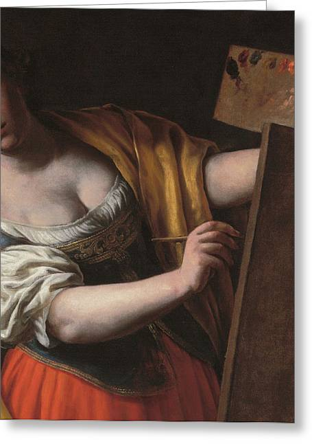 Artist At Work Greeting Cards - Deatil of an Allegory of painting Greeting Card by Alessandro Turchi