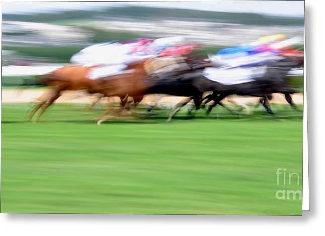 Race Horse Greeting Cards - Deauville Greeting Card by Delphimages Photo Creations