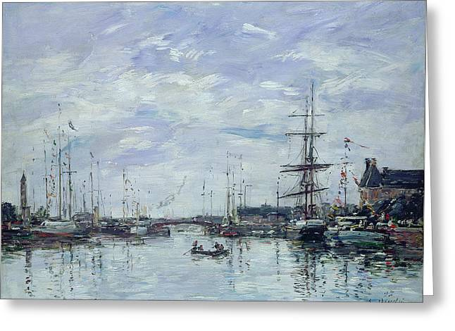 Docked Boat Greeting Cards - Deauville the Dock Greeting Card by Eugene Louis Boudin