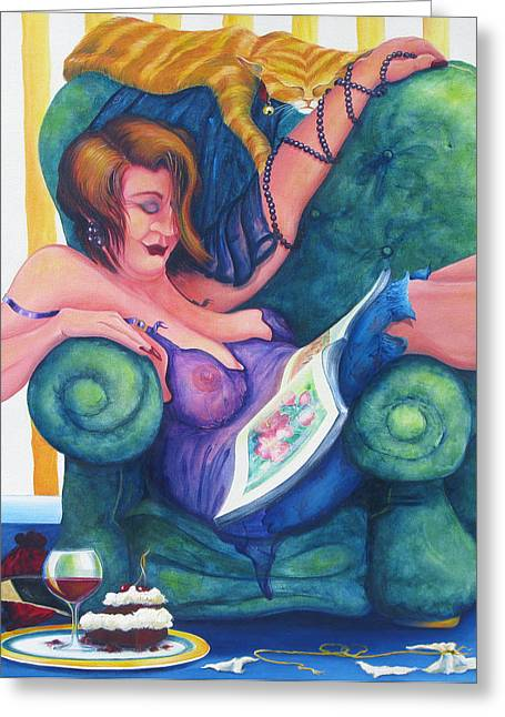 Lounge Paintings Greeting Cards - Decadent Decline Greeting Card by Jennifer Telford