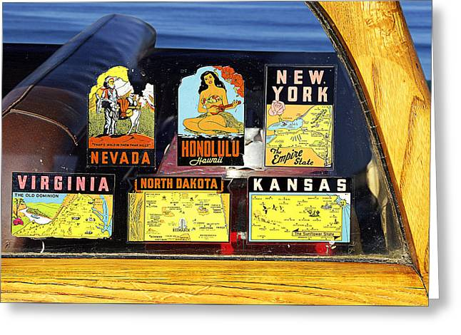 Decals On The Woodie Wagon Greeting Card by Ron Regalado