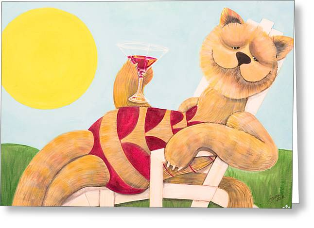 Lounge Paintings Greeting Cards - DeCATent Greeting Card by Brynn Carter