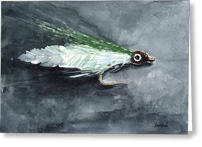 Minnow Pattern Greeting Cards - Deceiver Fishing Fly Greeting Card by Sean Seal