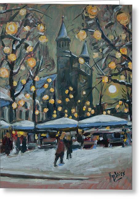 December Lights At The Our Lady Square Maastricht 2 Greeting Card by Nop Briex