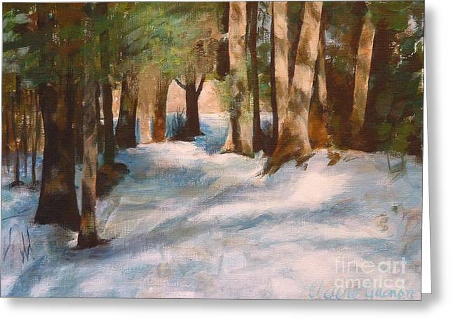 December Snow Path Greeting Card by Claire Gagnon
