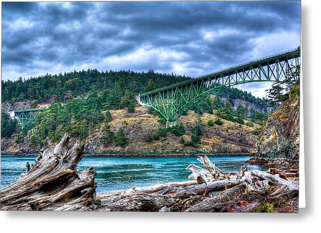Deception Beach Greeting Cards - Deception Pass Bridge Greeting Card by David Patterson