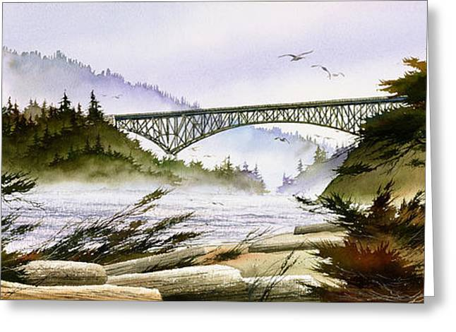 Landscape Framed Prints Greeting Cards - Deception Pass Bridge Greeting Card by James Williamson