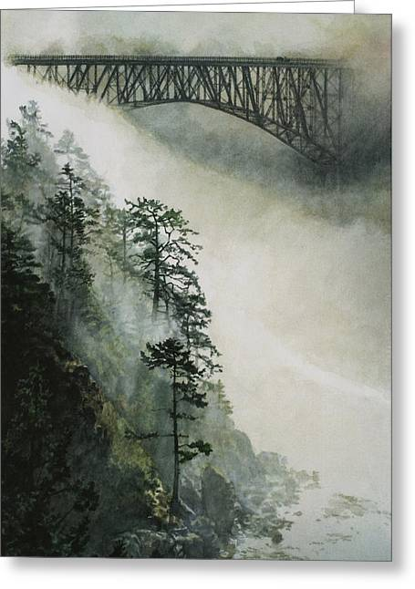 Pacific Islands Greeting Cards - Deception Pass Fog Greeting Card by Perry Woodfin