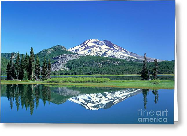 Glassy Lake Surface Greeting Cards - Dechutes Reflection Greeting Card by Greg Vaughn - Printscapes