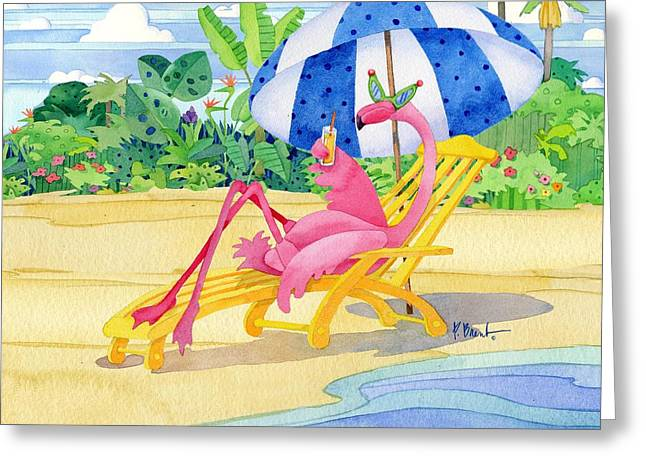 Coastal Birds Greeting Cards - Deck Chair Flamingo Greeting Card by Paul Brent