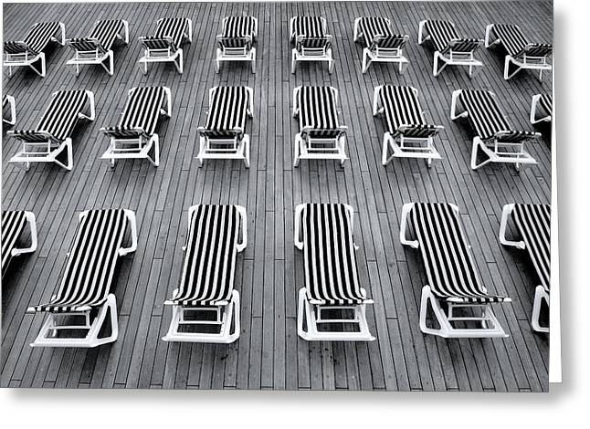 Empty Chairs Mixed Media Greeting Cards - Deck chairs Greeting Card by Michel Le