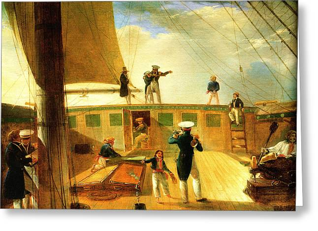Schooner Greeting Cards - Deck Scene mid 19th Century Greeting Card by Unknown