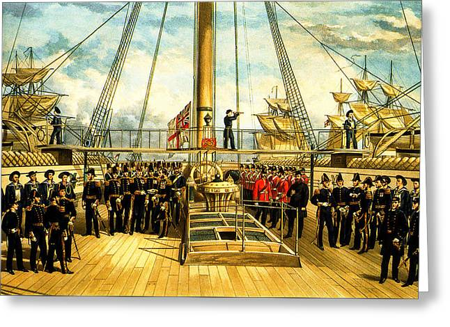 Schooner Greeting Cards - Deck Scene on a British Ship 1870 Greeting Card by Unknown