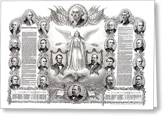 Declaration Of Independence Mixed Media Greeting Cards - Declaration of Independence 1884 Poster Restored Greeting Card by Carsten Reisinger