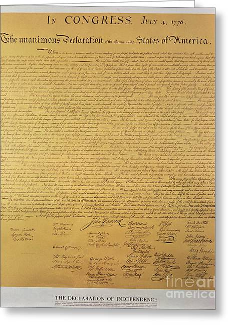 Rights Paintings Greeting Cards - Declaration of Independence Greeting Card by American School