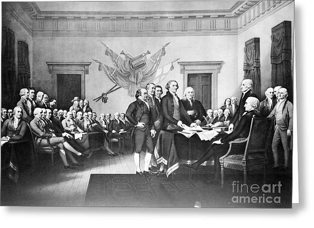 Philadelphia History Greeting Cards - Declaration Of Independence Greeting Card by Photo Researchers, Inc.
