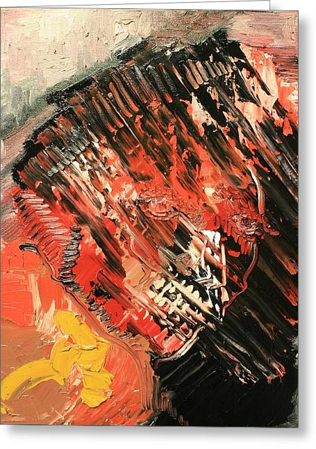Michael Kulick Paintings Greeting Cards - Declaration of war self Portrait Greeting Card by Michael Kulick