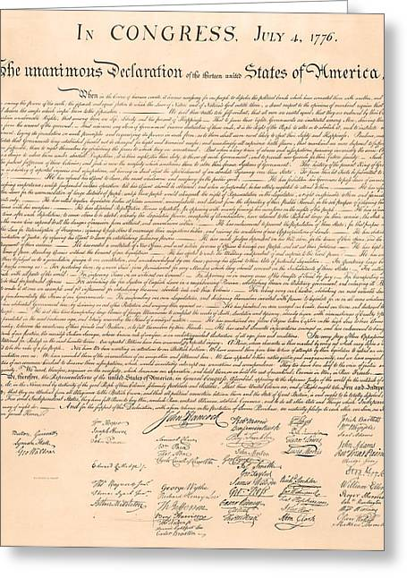July 4th Paintings Greeting Cards - Declarations of Independence Greeting Card by Declarations of Independence