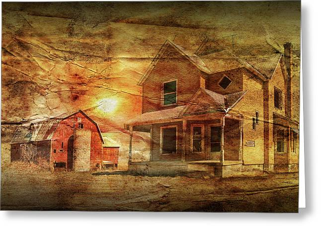 Decline Of The Small Farm With Wrinkled Paper Greeting Card by Randall Nyhof