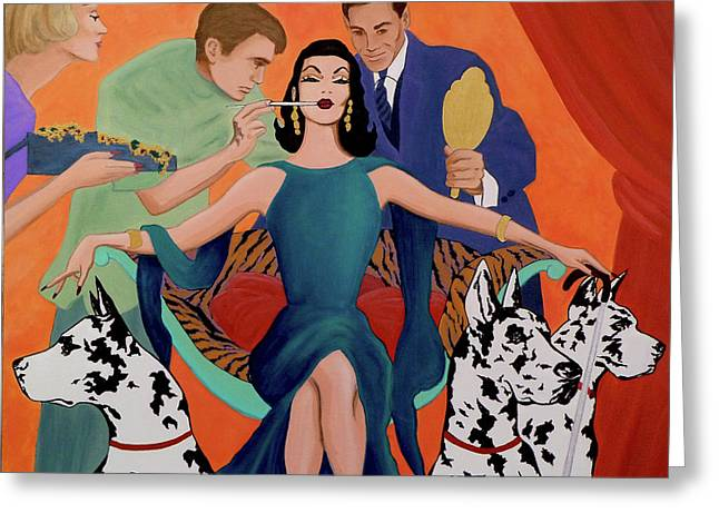 Starlett Greeting Cards - Deco Diva Greeting Card by Tony Franza