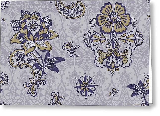 Tapestries Greeting Cards - Deco Flower blue Greeting Card by JQ Licensing