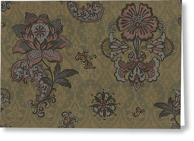 Tapestries Greeting Cards - Deco Flower Brown Greeting Card by JQ Licensing