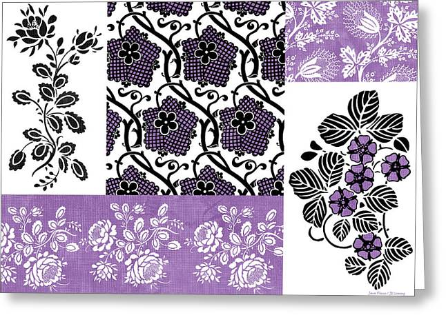 Tapestries Greeting Cards - Deco Flower Patchwork 3 Greeting Card by JQ Licensing