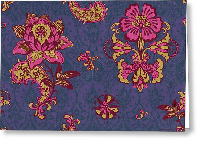 Tapestries Greeting Cards - Deco Flower Purple Greeting Card by JQ Licensing