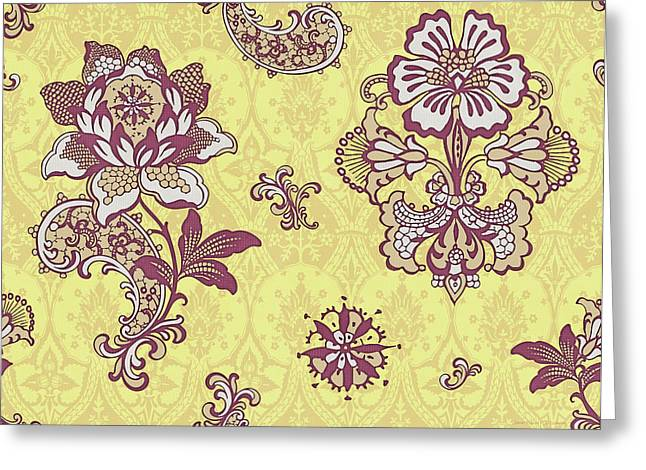 Tapestries Greeting Cards - Deco Flower Yellow Greeting Card by JQ Licensing
