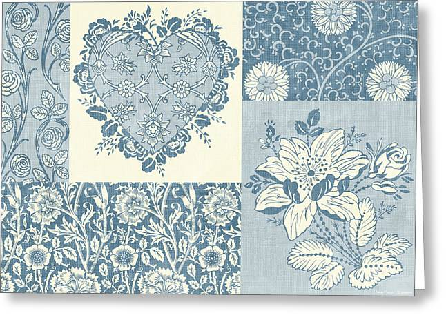 Tapestries Greeting Cards - Deco Heart Blue Greeting Card by JQ Licensing