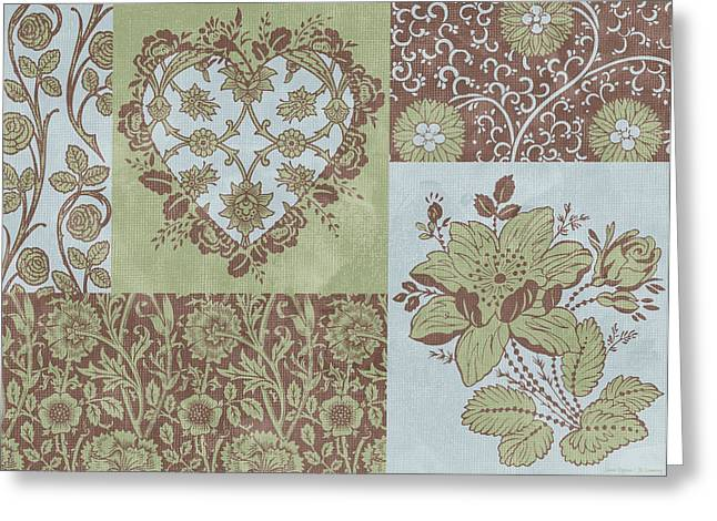 Deco Heart Sage Greeting Card by JQ Licensing