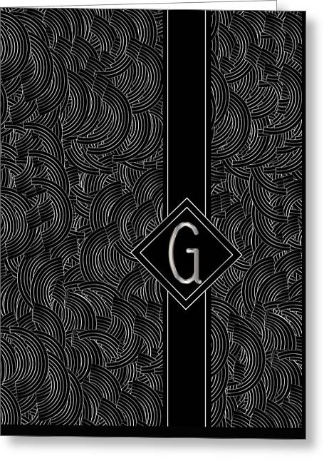 Deco Jazz Swing Monogram ...letter G Greeting Card by Cecely Bloom