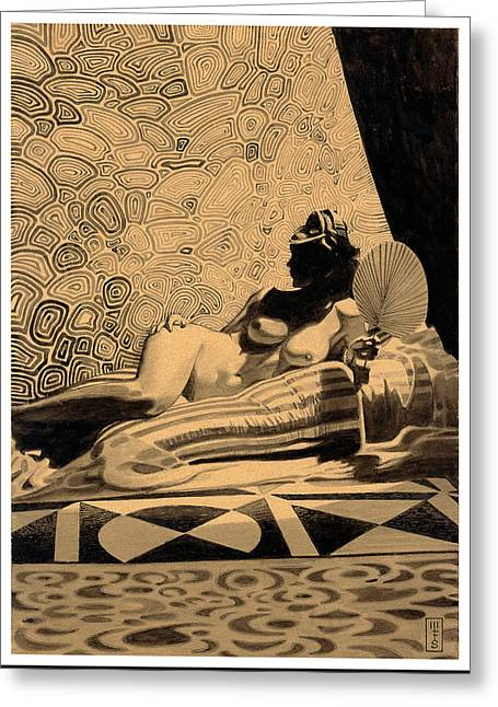 Pen And Ink Drawing Greeting Cards - Deco Nude Greeting Card by Murray Smoker