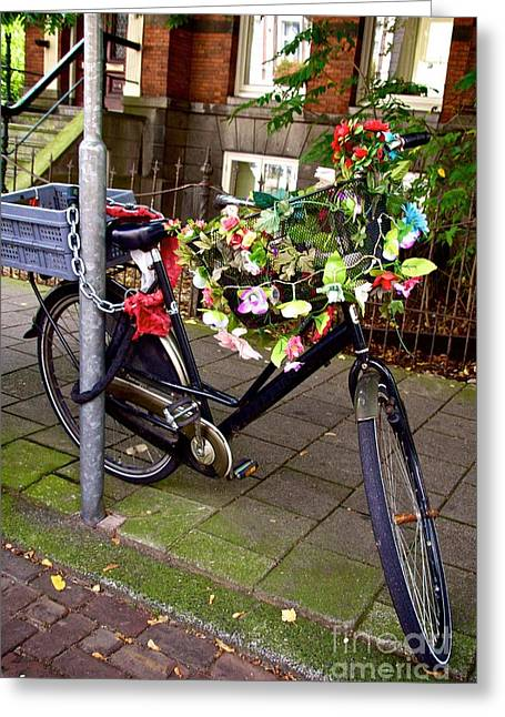Absence Greeting Cards - Decorated bicycle. Amsterdam. Netherlands. Europe Greeting Card by Bernard Jaubert