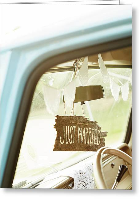 Rearview Greeting Cards - Decorated Car Interior With Wooden Just Greeting Card by Gillham Studios