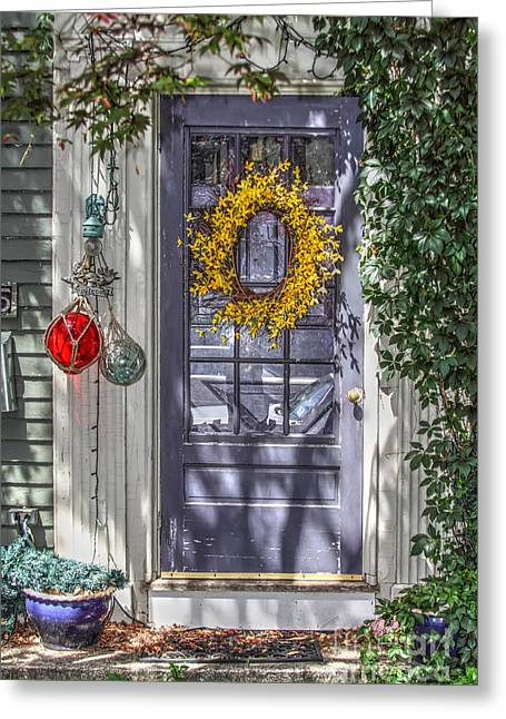 Glass Floats Greeting Cards - Decorated Door Greeting Card by Rick Mann