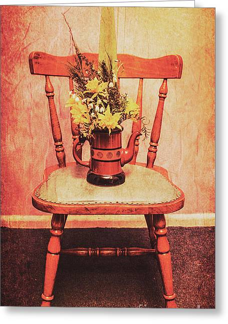 Decorated Flower Bunch On Old Wooden Chair Greeting Card by Jorgo Photography - Wall Art Gallery