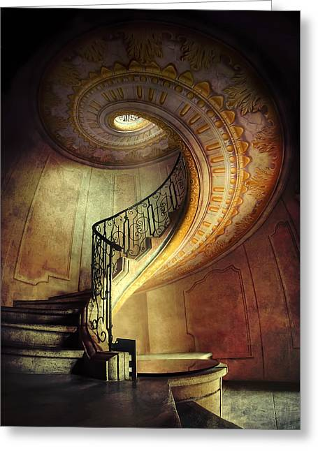 Going Down Greeting Cards - Decorated spiral staircase  Greeting Card by Jaroslaw Blaminsky