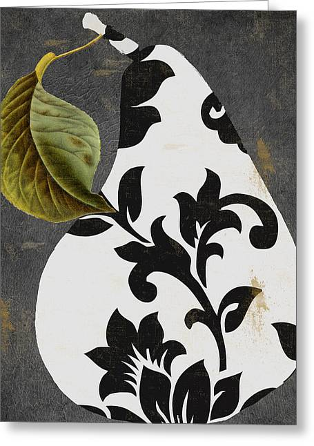Stylized Paintings Greeting Cards - Decorative Damask Pear I Greeting Card by Mindy Sommers
